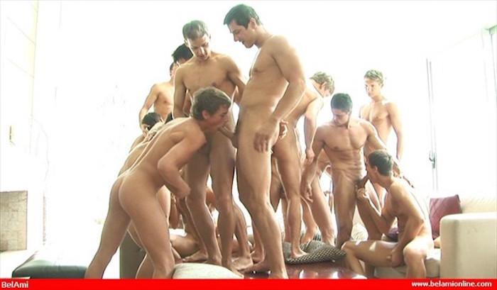 Gay Bukkake uncut cock orgy for Kevin Warhol - Bareback 4
