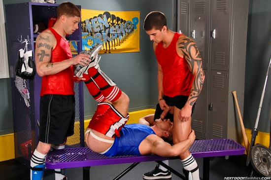 Three Muscle Jocks Fucking - Marko Lebeau, Tyler Torro and Brec Boyd (4)