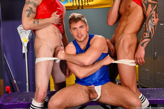 Three Muscle Jocks Fucking - Marko Lebeau, Tyler Torro and Brec Boyd (5)