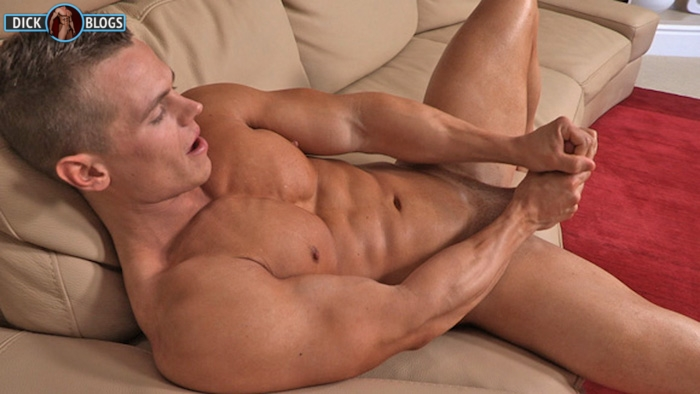 muscle man jacking off on couch