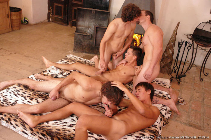 Uncut orgy brunette big dick