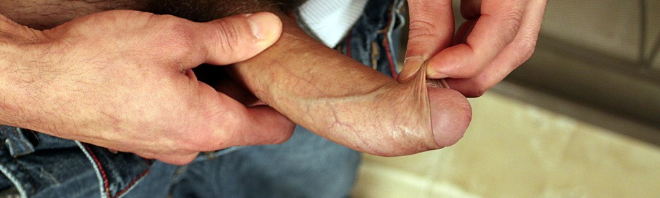 straight guy playing with foreskin