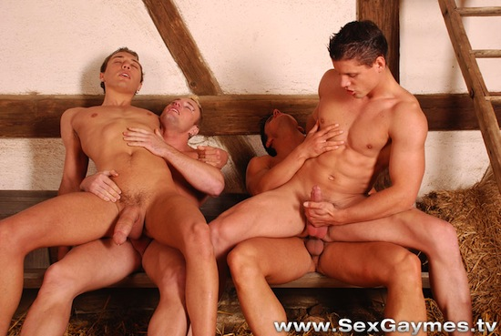 four hot guys fucking
