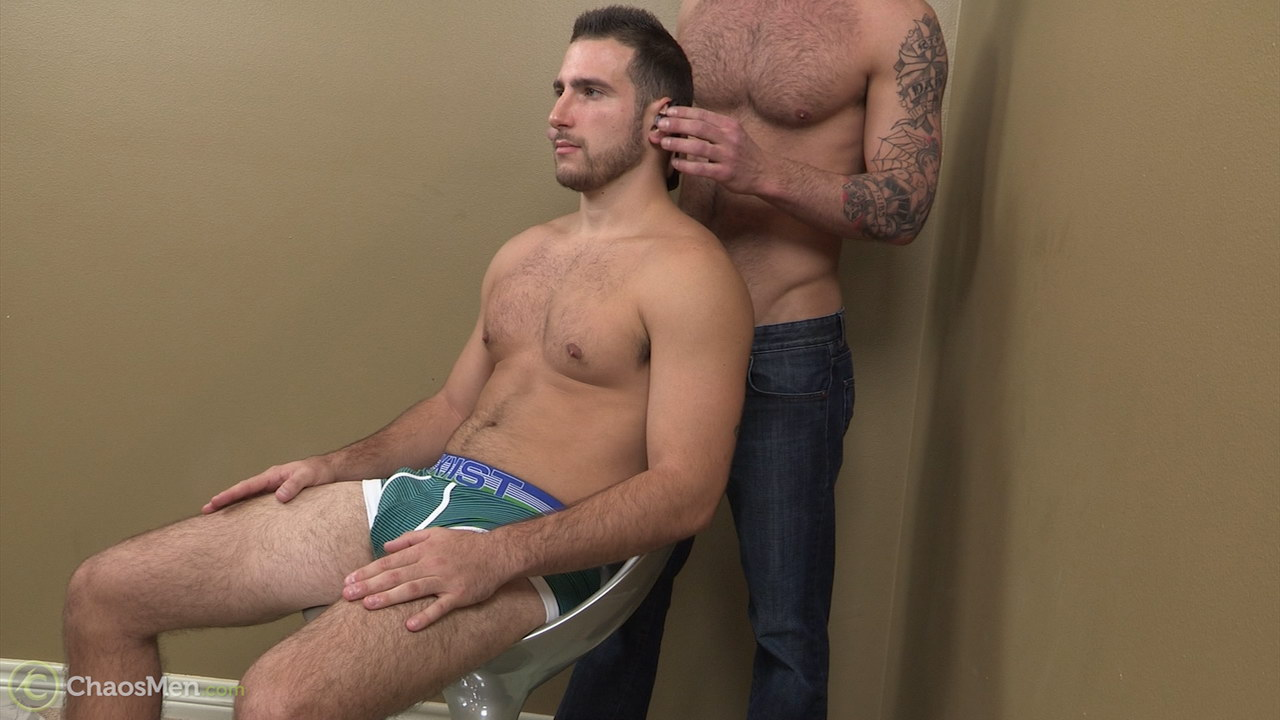Straight hairy jock getting his cock serviced in a video for Chaosmen