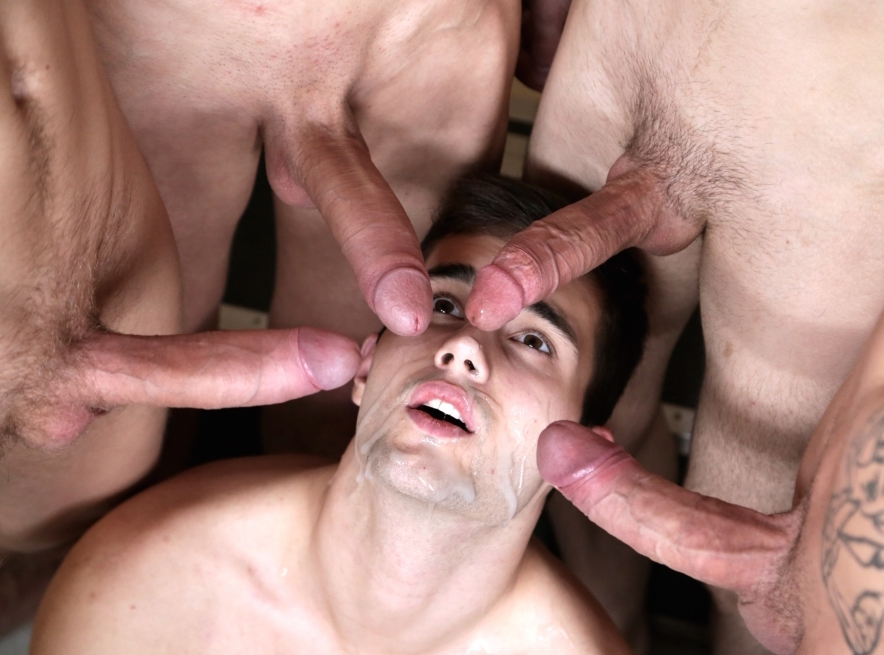 Gay bukkake for Sam Williams in a bareback orgy at Staxus