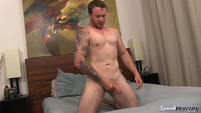 Hung straight guy jacking his cock