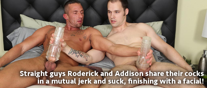 two guys wanking and sucking and ending with a gay cum facial at Chaosmen