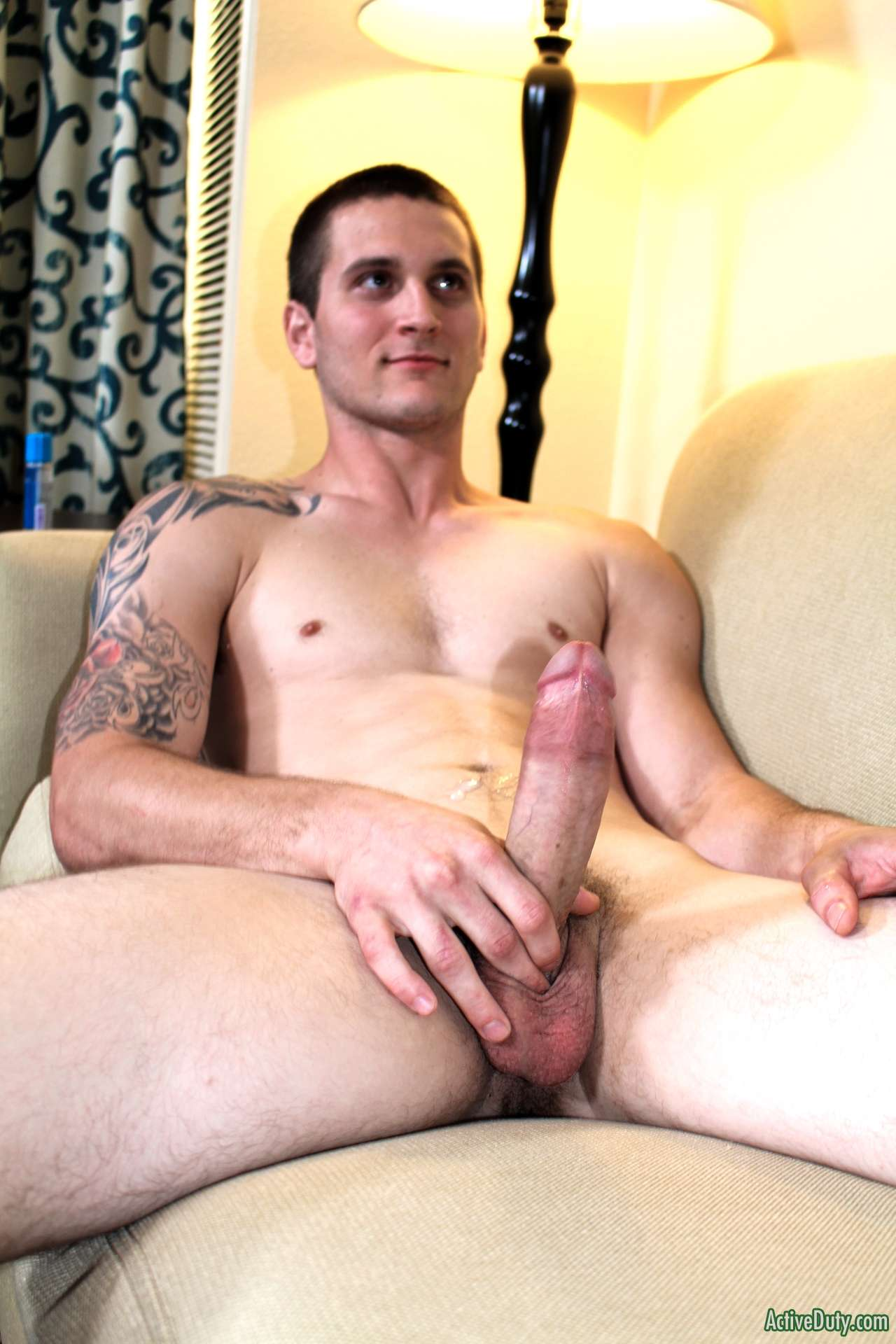 horny guy showing off his big uncut cock