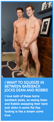 Hung twink Robbie in a bareback flip flop fuck with Dean