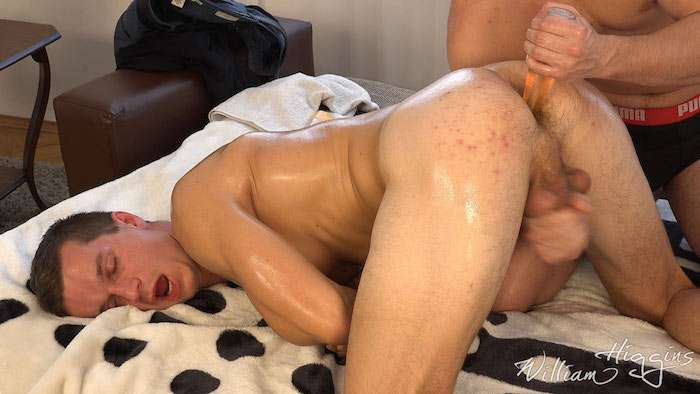 straight guy Denis Develo jerked off with anal play