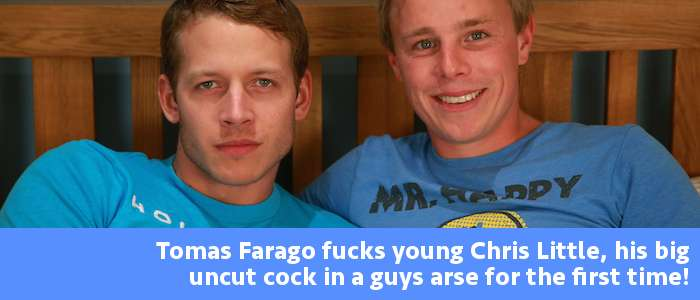 Straight guys first time Chris Little gets fucked by hung and uncut Tomas Farago