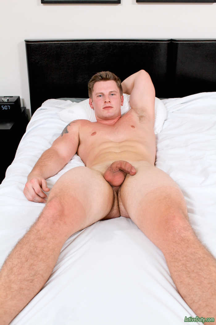 horny straight military guy naked on bed