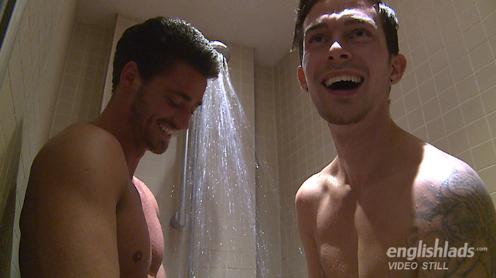 2 horny straight guys share a shower after sucking each other off on video for Englishlads