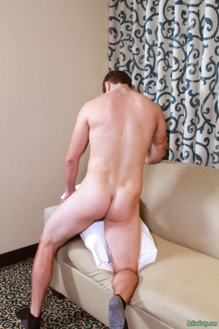 Hunky John wanking his hard jock cock on video for Active Duty 6