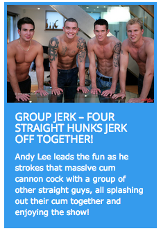 four horny straight guys in a circle jerk