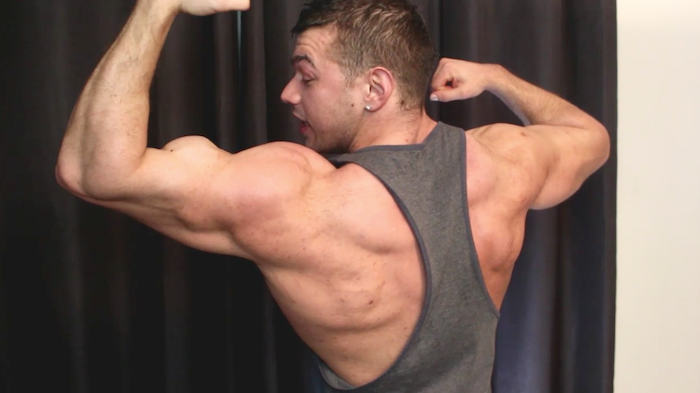 Muscle flexing with British hunk Joshua Armstrong