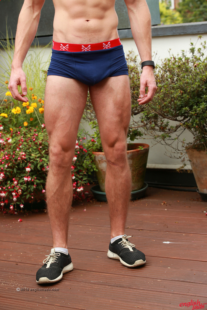 Straight boy Freddie Rogers shows off his muscled hairy legs