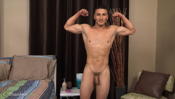 Naked straight guy Daniel poses on video for Chaosmen, showing off his soft uncut cock