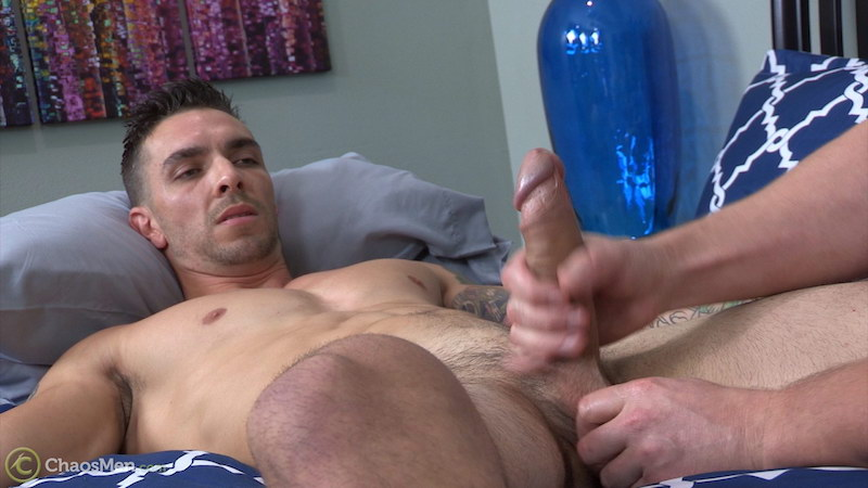 Tugging a straight guys balls while jerking his big uncut cock on video