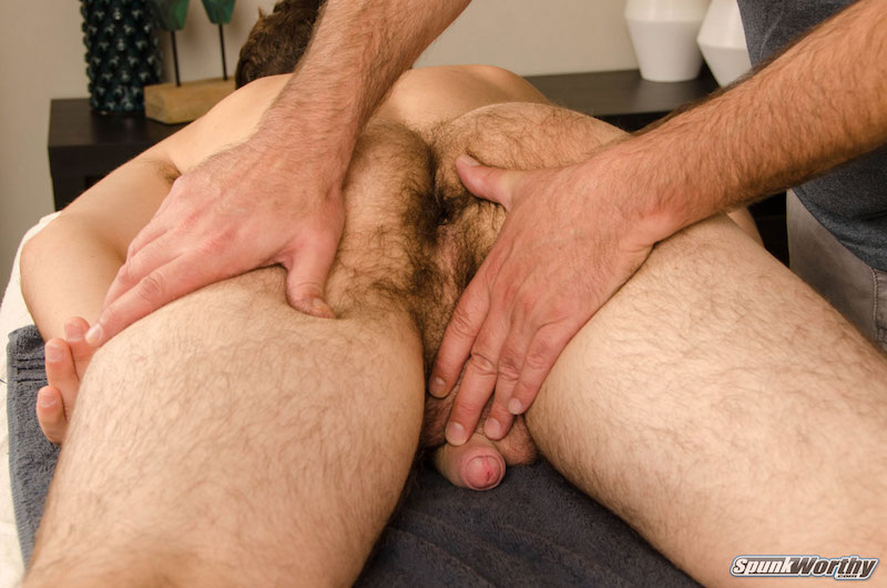 Straight guy gets his cock played with by another guy