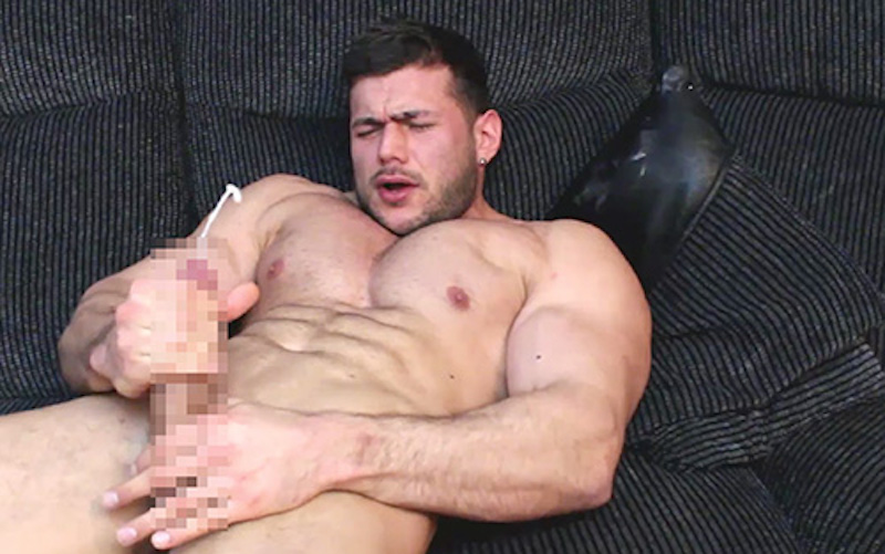 Bodybuilder cum squirting from his cock on video