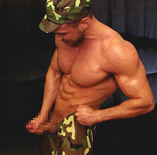 Military cock wanking with Joshua Armstrong