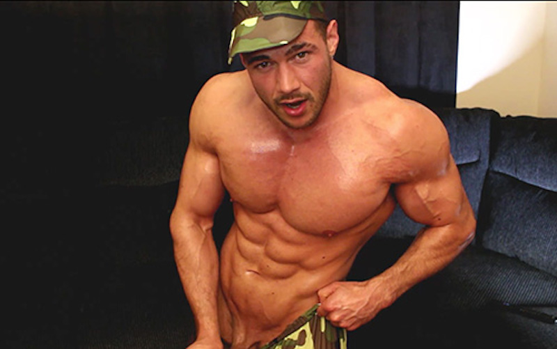Military cum shot with muscle man Joshua Armstrong