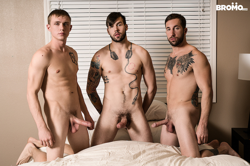 three hung guys hard and horny together