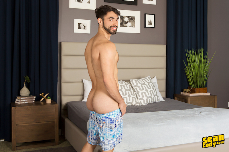 hairy jock flashing his smooth butt