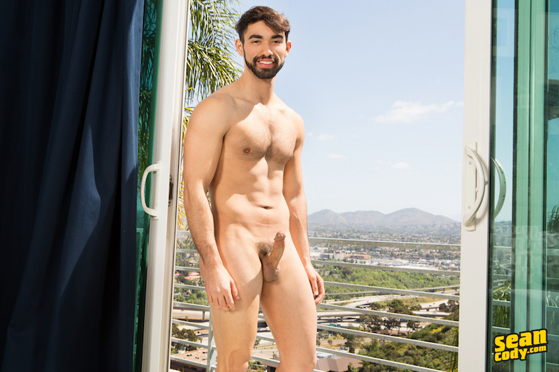 naked hairy jock with a hard cock