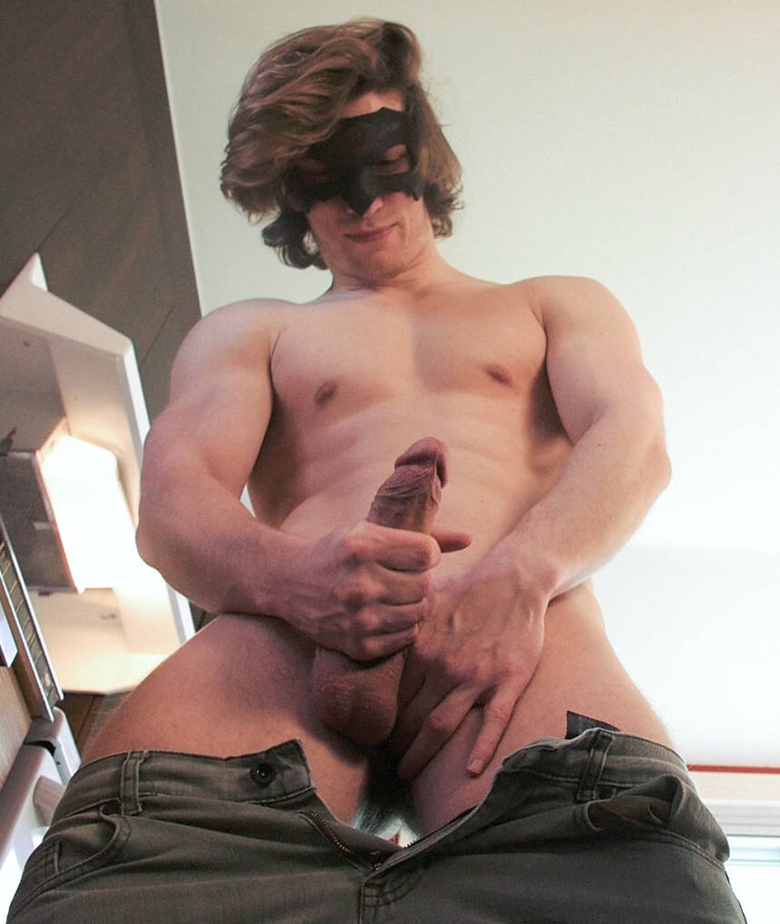 Hung muscle jock with a big uncut cock