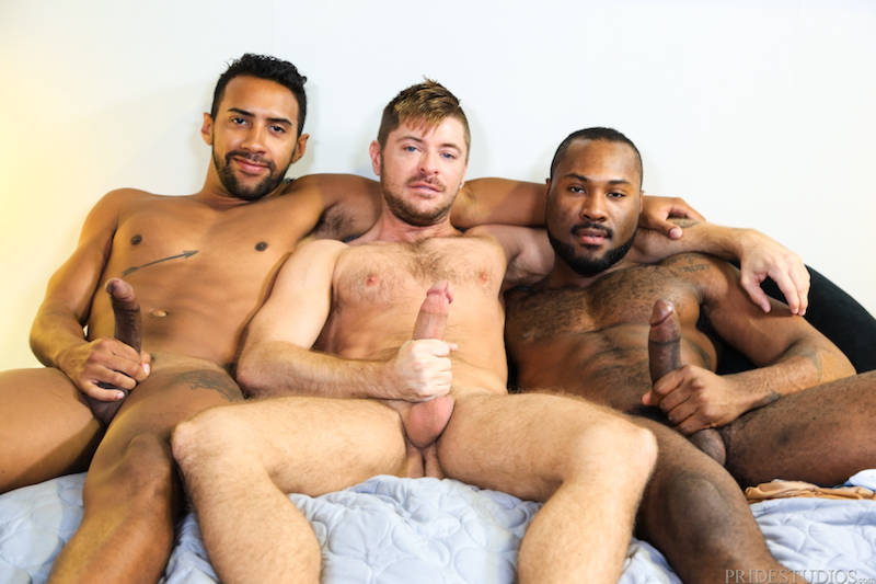 Three hung men in a flip flop threesome video
