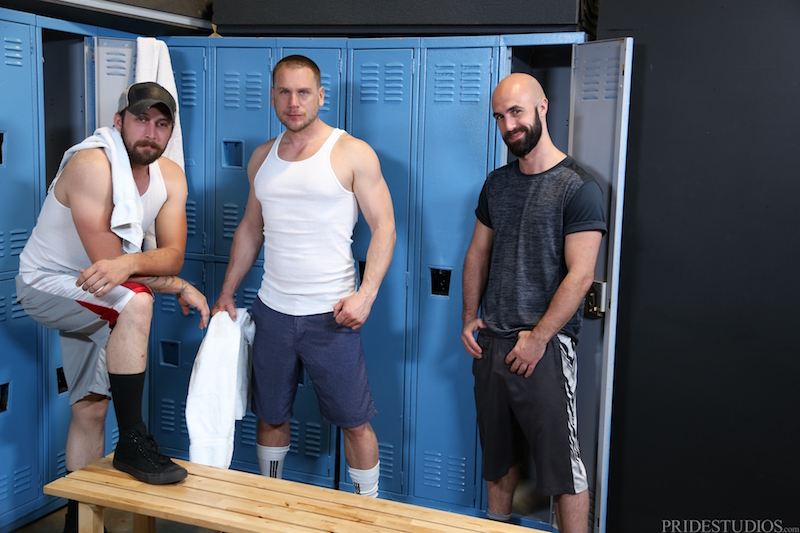 gay locker room threesome video