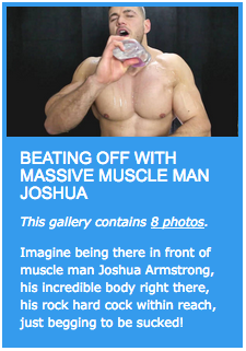 Muscle man Joshua Armstrong lube up wank off