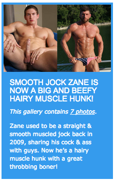 Smooth jock Zane is now a big and beefy hairy muscle hunk!