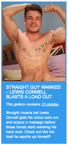Straight guy wanked – Lewis Connell blasts a load out