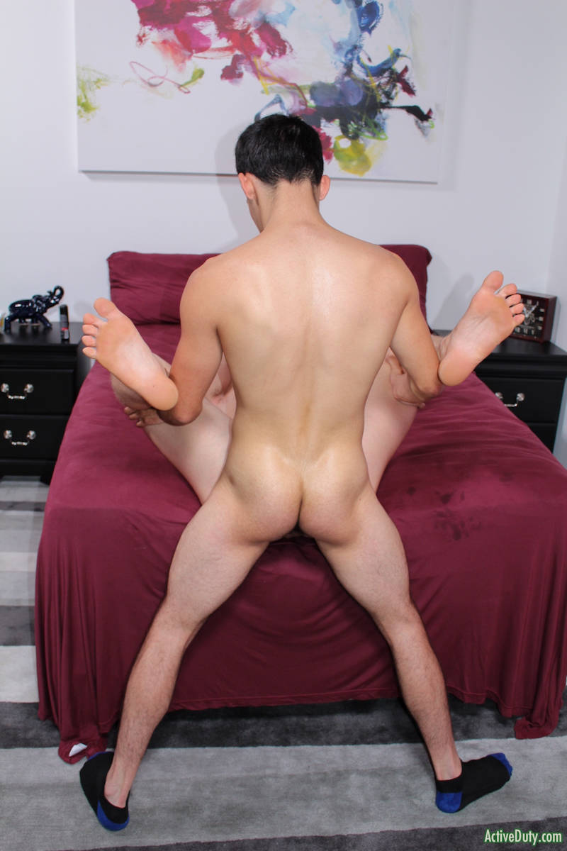 straight boys ass pumping as he fucks another boy in the ass in a bareback porn video for Activeduty.com
