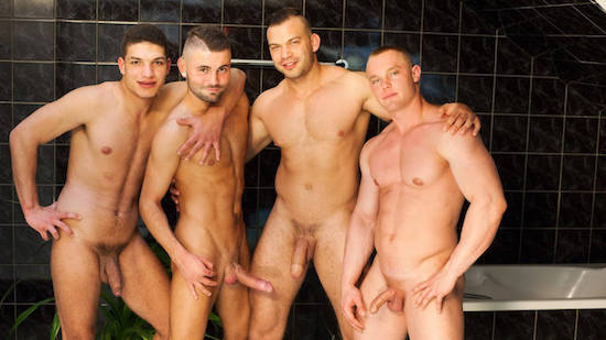 4 uncut guys sucking and bareback fucking