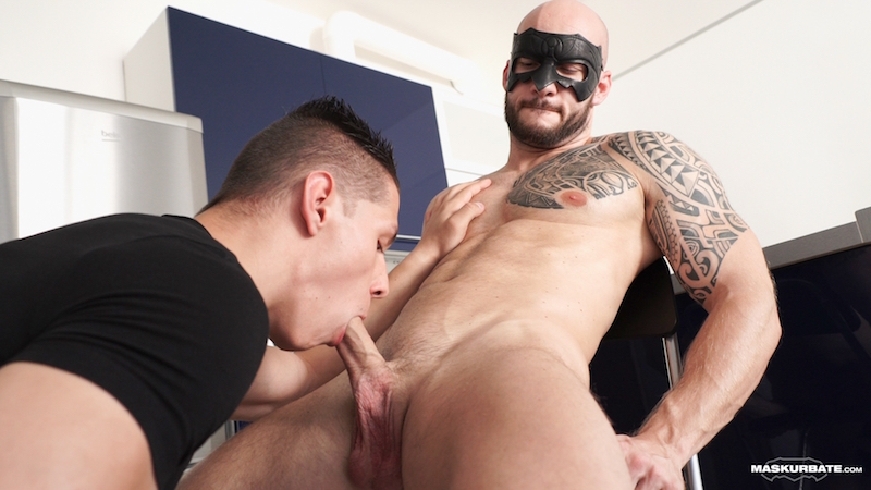 hung and uncut muscle man being sucked by a guy