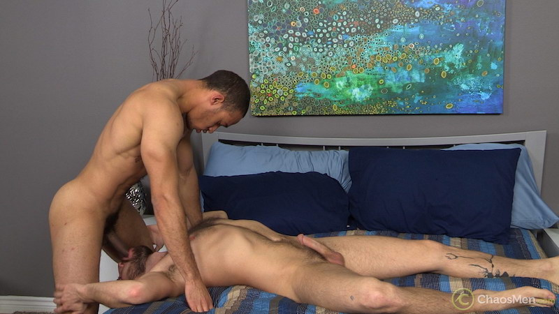 hung guy face fucking another man