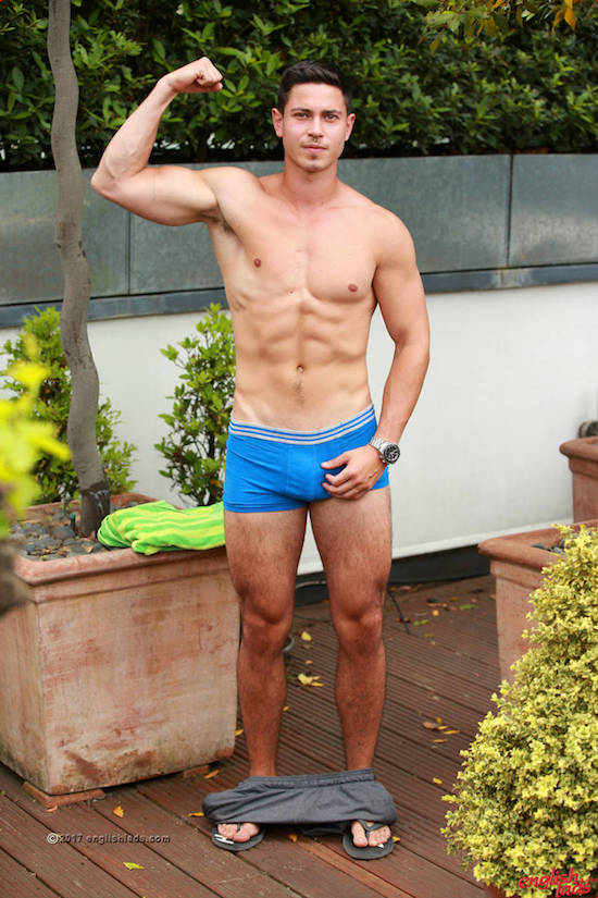 Straight jock Connor Wickman shows off his sexy body in his underwear, his cock bulge big and teasing, ready to wank his uncut cock