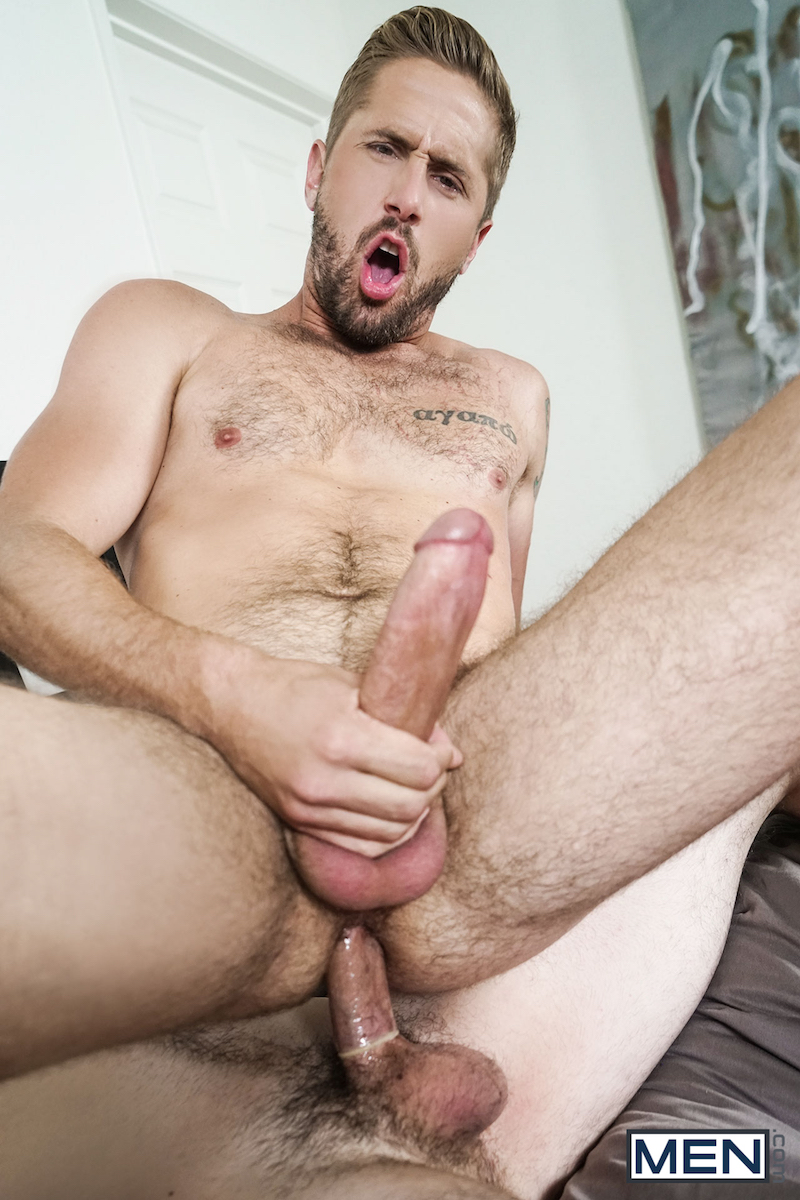 hung bottom jerking off with a cock in his ass