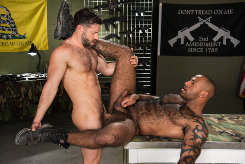 hairy gay hunks fucking on video in Gun Show from Raging Stallion