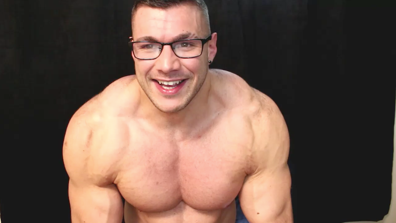 Muscle man stripper jacking off on video