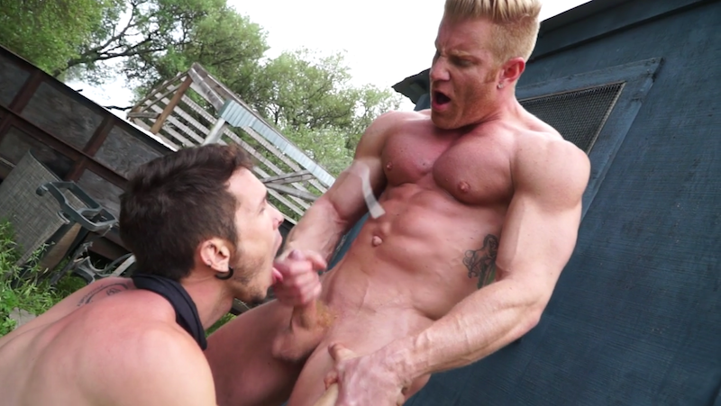 muscle man cumming all over a jock boy