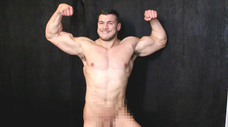 naked muscle man posing on video