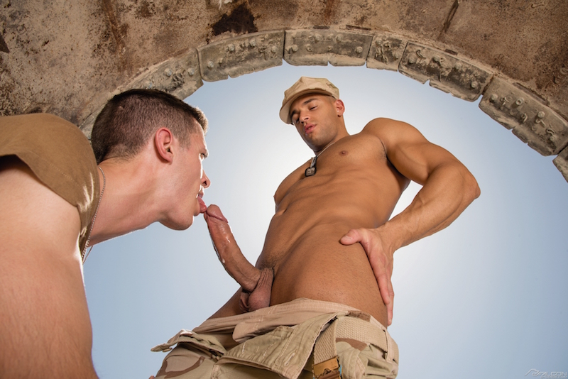 horny marine sucks and licks a big uncut cock