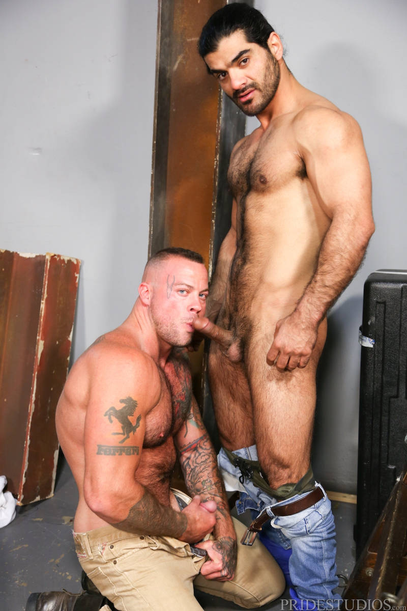 Muscle men sucking cock in gay porn