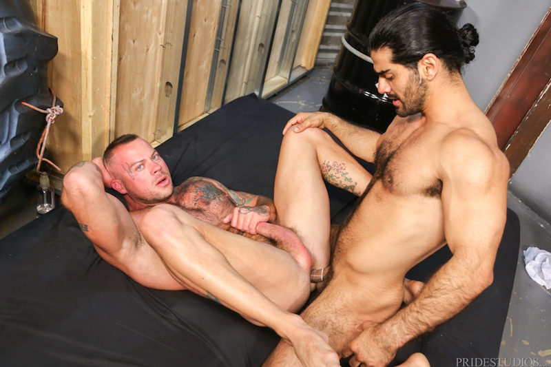 two muscle men fucking on video at Pride Studios