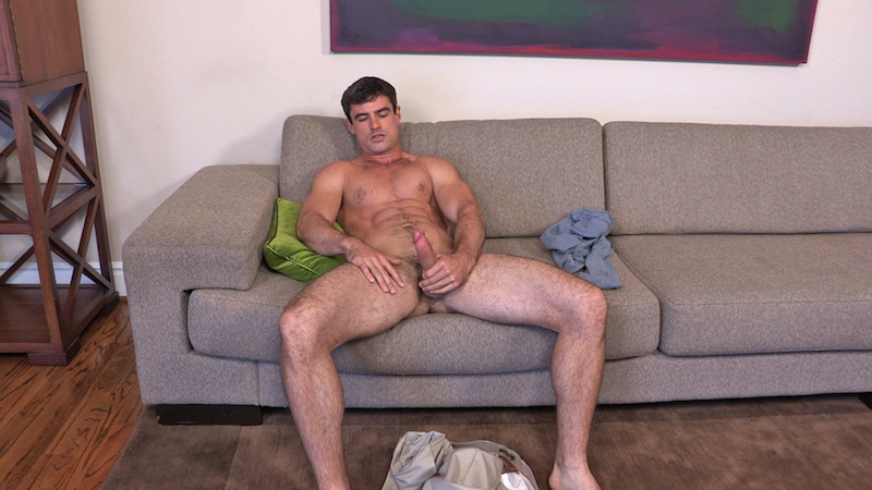 naked straight man jerking off on a couch